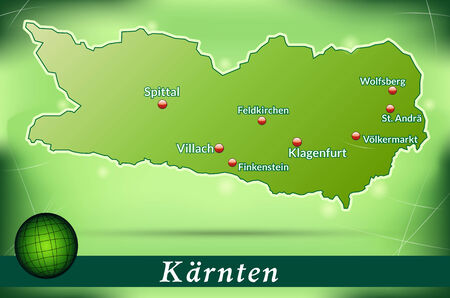 spittal: Map of kaernten with abstract background in green