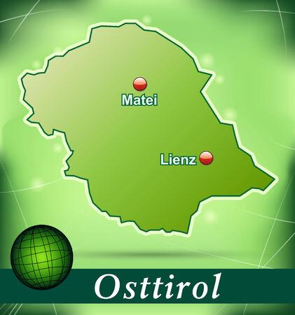 チロル: 緑の抽象的な背景と東チロルの地図  イラスト・ベクター素材