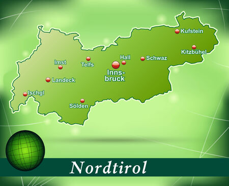 Map of tyrol with abstract background in green Vector