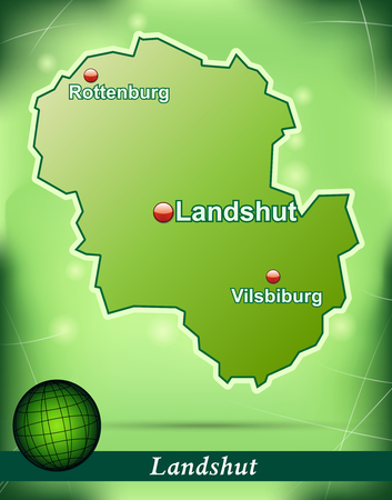 landshut: Map of landshut with abstract background in green Illustration