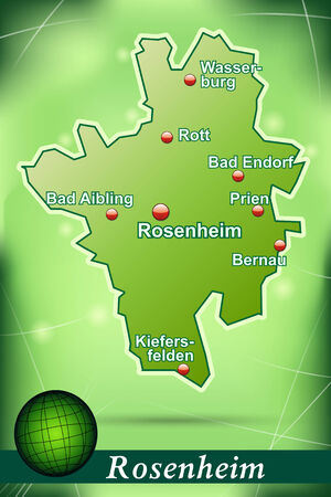 rott: Map of rosenheim with abstract background in green