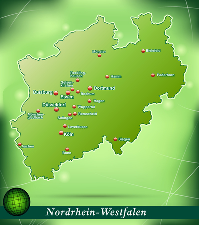 north rhine westphalia: Map of North Rhine-Westphalia with abstract background in green