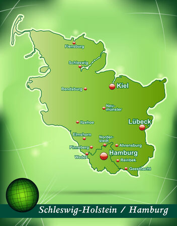 schleswig holstein: Map of Schleswig-Holstein with abstract background in green