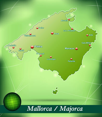 majorca: Map of mallorca with abstract background in green Illustration