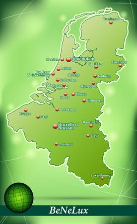 Kaart van de Benelux met abstracte achtergrond in het groen Stock Illustratie