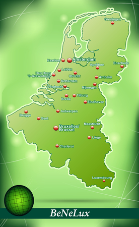 haarlem: Map of Benelux with abstract background in green