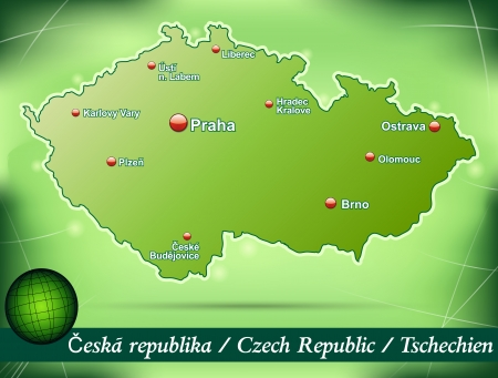 budweis: Map of Czech Republic with abstract background in green