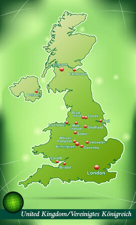 leeds: Map of England with abstract background in green