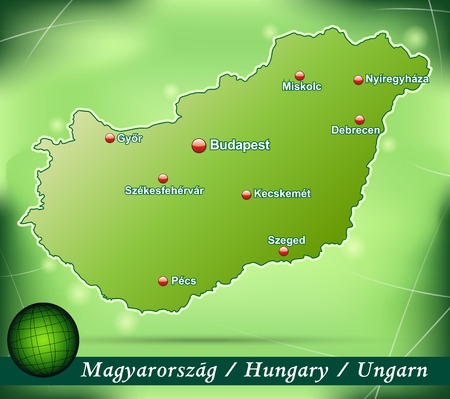 Map of Hungary with abstract background in green Illustration