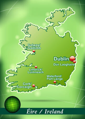 dun: Map of Ireland with abstract background in green