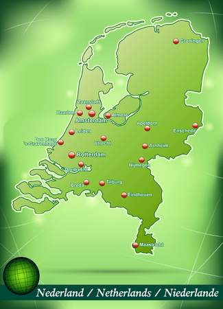 haarlem: Map of Netherlands with abstract background in green