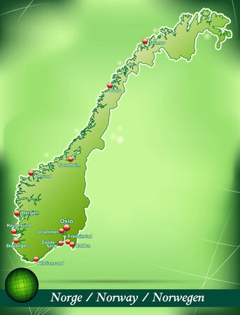 Map of Norway with abstract background in green