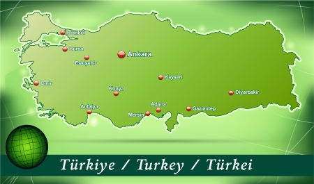 bursa: Map of Turkey with abstract background in green