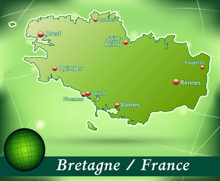 brittany: Map of Brittany with abstract background in green