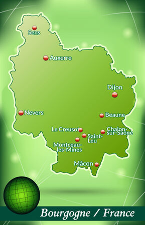 mines: Map of Burgundy with abstract background in green
