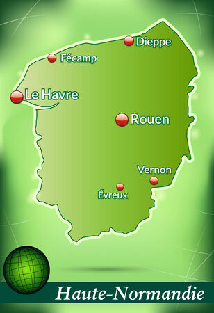 normandy: Map of Upper Normandy with abstract background in green