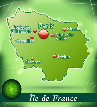 versailles   france: Map of Ile-de-France with abstract background in green