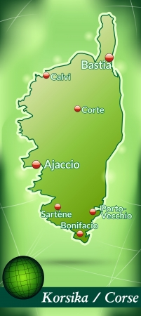 ajaccio: Map of corsica with abstract background in green