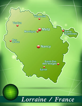 Map of lorraine with abstract background in green