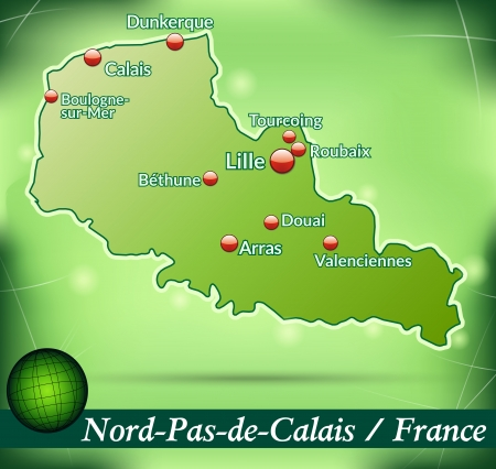 lille: Map of North-pas-de-calais with abstract background in green Illustration