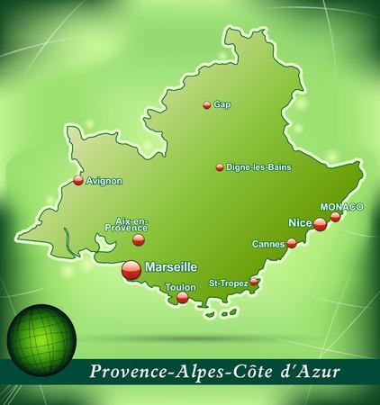Carte de Provence-Alpes-Côte d'Azur avec un fond abstrait en vert