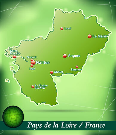 Map of Pays de la Loire with abstract background in green