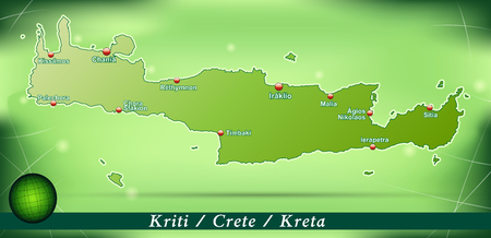 Map of Crete with abstract background in green Vector