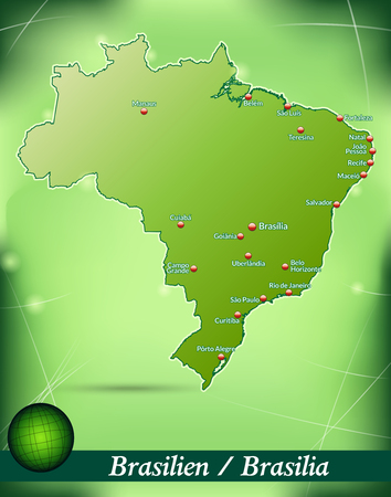 belem: Map of Brazil with abstract background in green Illustration