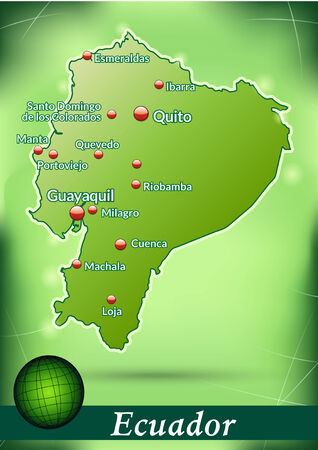Map of ecuador with abstract background in green Illustration