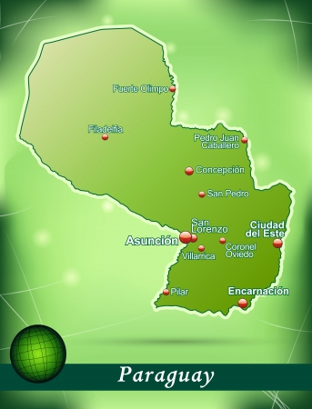 Map of Paraguay with abstract background in green