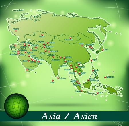 yerevan: Map of Asia with abstract background in green