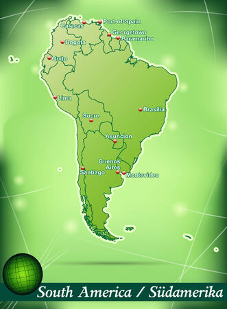 georgetown: Map of South America with abstract background in green