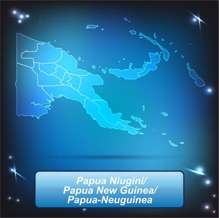 Carte de la Papouasie-Nouvelle-Guinée avec des frontières avec des couleurs vives Vecteurs