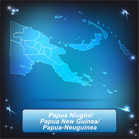 papua: Map of Papua New Guinea with borders with bright colors