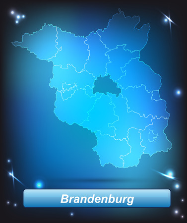 Map of Brandenburg with borders with bright colors Vector