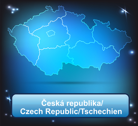 budweis: Map of Czech Republic with borders with bright colors