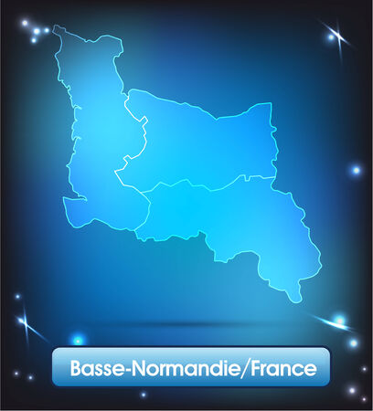 basse normandy: Map of Lower Normandy with borders with bright colors