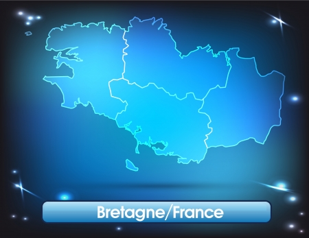brittany: Map of Brittany with borders with bright colors