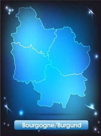 sur: Map of Burgundy with borders with bright colors