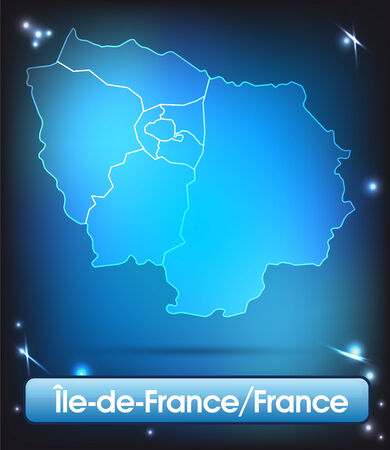versailles   france: Map of Ile-de-France with borders with bright colors