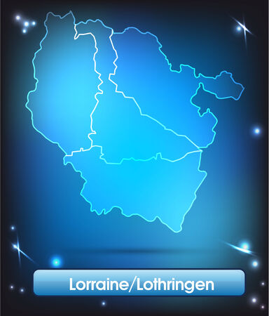 Map of lorraine with borders with bright colors