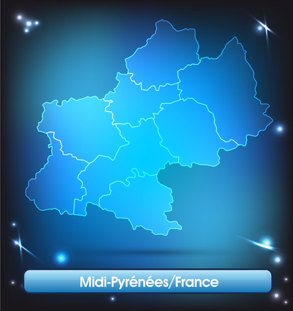Map of Midi-Pyrenees with borders with bright colors