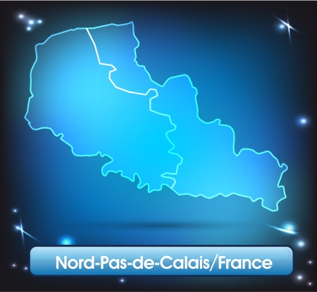 lille: Map of North-pas-de-calais with borders with bright colors Illustration