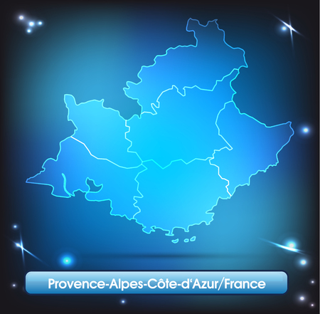 d���azur: Map of Provence-Alpes-Cote d Azur with borders with bright colors Illustration