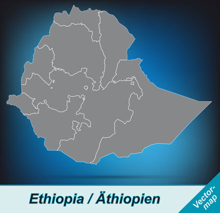 ethiopia: Map of Ethiopia with borders in bright gray