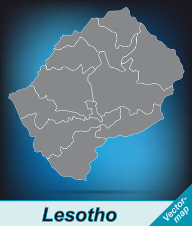 lesotho: Map of Lesotho with borders in bright gray