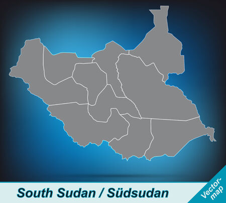 south sudan: Map of South Sudan with borders in bright gray
