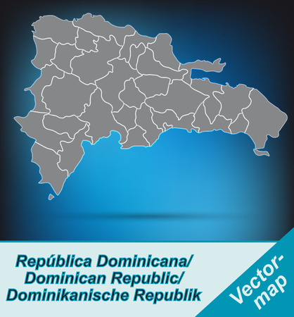Map of Dominican Republic with borders in bright gray Vector