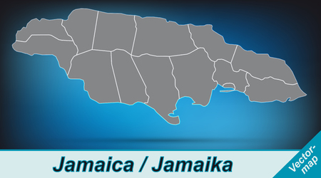 black maria: Map of Jamaica with borders in bright gray