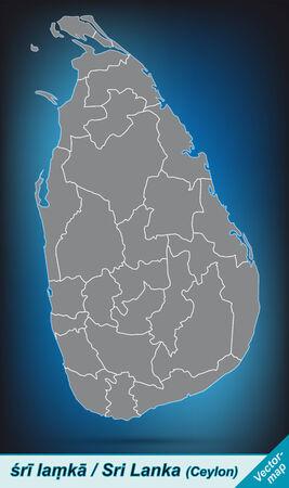 sri: Map of Sri Lanka with borders in bright gray